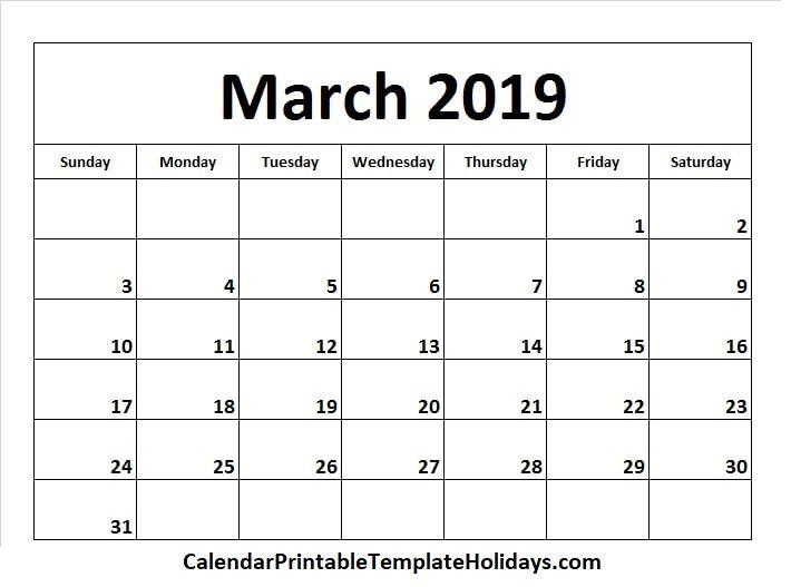 March 2019 Calendar Chuyện Vui