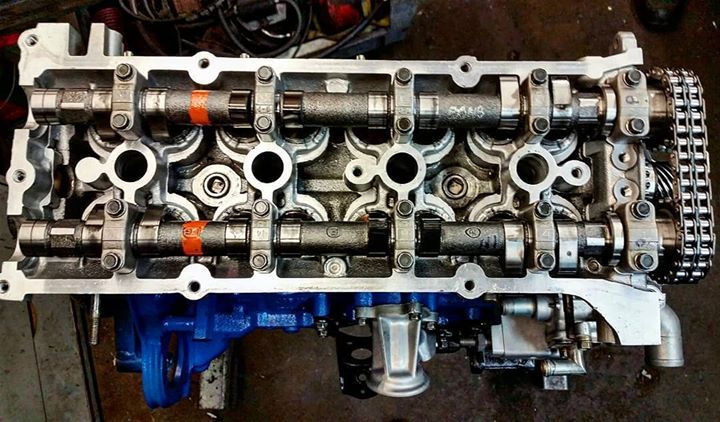 Cylinder head installed on KA24DE Turbo stroker block
