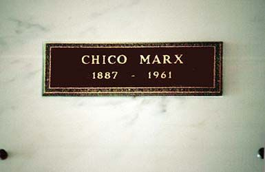 THE GRAVE OF CHICO MARX  (of the Marx Brothers) at Forest Lawn in Glendale, California
