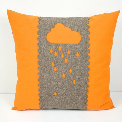 Handmade decorative pillow cover with appliqued cloud motif in natural high\u2026