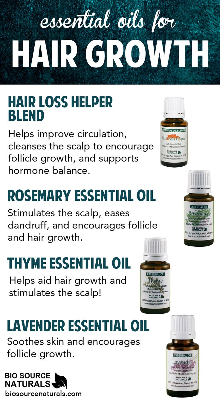 Hair Loss Helper essential oil blend and other pure essential oils can help stimulate hair growth.