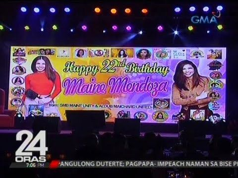 Maine Mendoza, binigyan ng post-birthday celebration ng nasa 700 fans niya mula sa 32 fans clubs - WATCH VIDEO HERE -> http://philippinesonline.info/aldub/maine-mendoza-binigyan-ng-post-birthday-celebration-ng-nasa-700-fans-niya-mula-sa-32-fans-clubs/   24 Oras is GMA Network's flagship newscast, anchored by Mike Enriquez, Mel Tiangco and Vicky Morales. It airs on GMA-7 Mondays to Fridays at 6:30 PM (PHL Time) and on weekends at 5:30 PM. For more videos from 24 Oras, visit