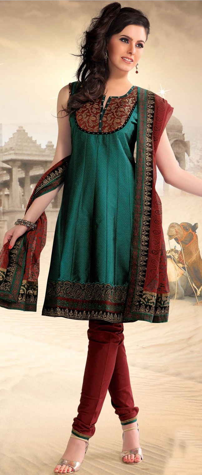 #Green Poly #Cotton Readymade Churidar Kameez @ $88.52