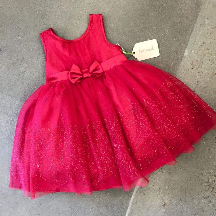 Satin Red Frock for Girls With Bow At Waist