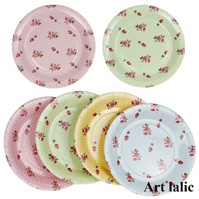 Colorful Rose flower Paper Plates for Valentine Birthday Wedding Party disposable Tableware Party Supplies CP068