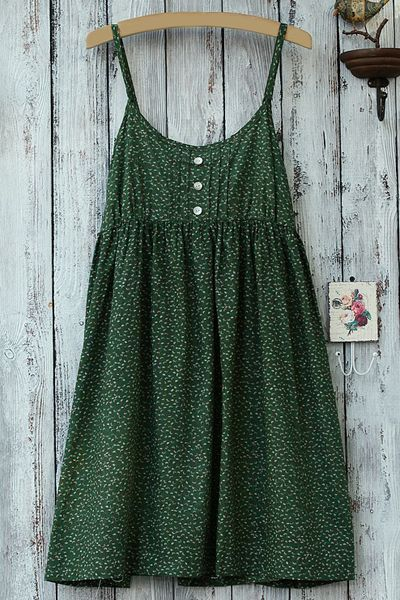 Spaghetti Strap Green Print Sleeveless Dress