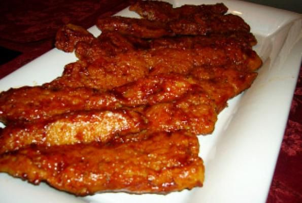 Vegan Ribs - change to 2 cups of water & 3 TBS of tahini (they'll be kind of wet--that's ok). cook for 10 min or until golden brown on the bottom.some of them will be puffy. flip them, coat w/ bbq sauce, then back in for another 10-12 min. or until the other side is golden brown and they are nice and chewy--but not too chewy--still soft--with a little crunch. coat other side with bbq sauce and serve. delicious