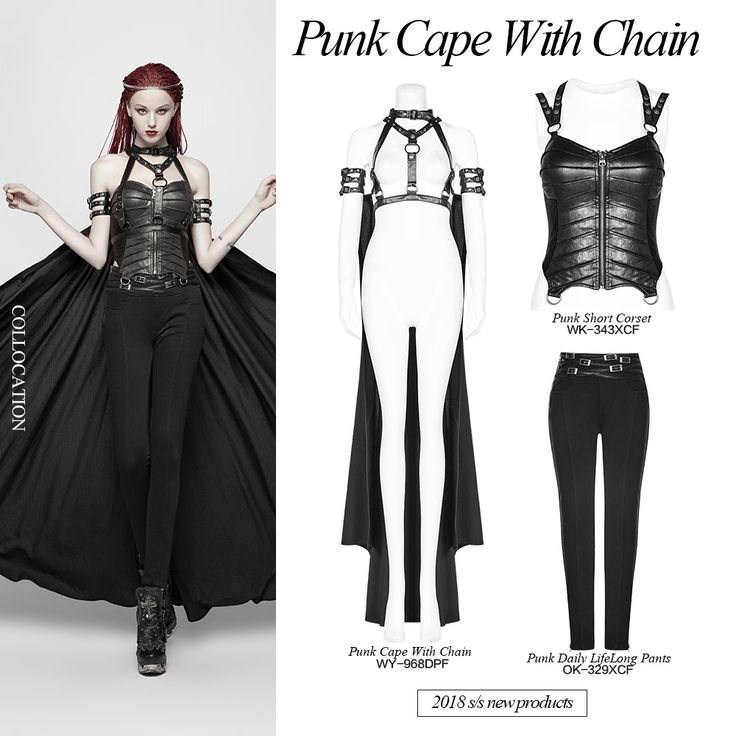 punk cross long cape with chain  rave outfits cheap