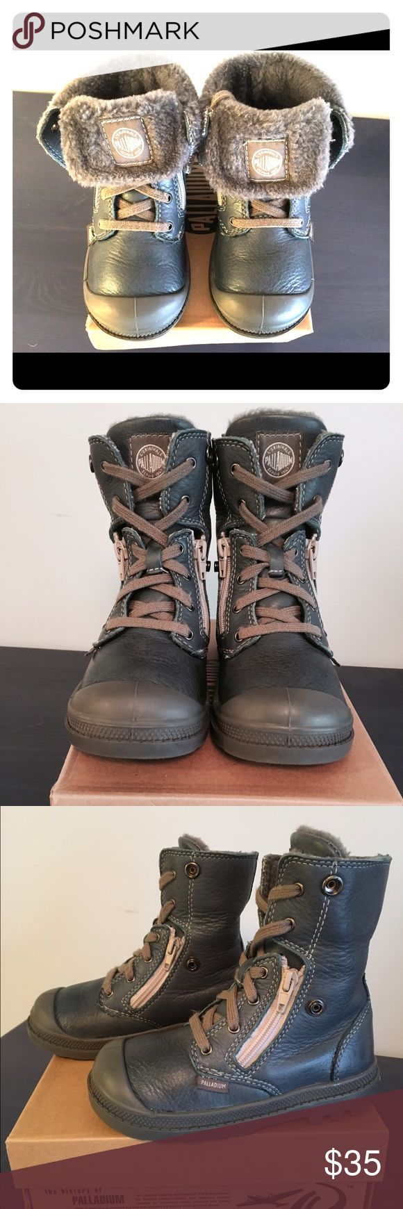 Palladium toddler winter boots (boys/girls) Like new condition. Leather boots with faux fur lining; light and comfortable. Unisex style. Palladium Shoes Boots