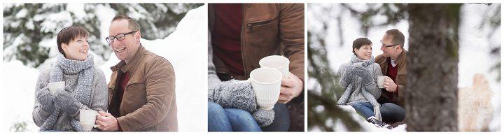 Valentines snow portraits drinking hot chocolate.