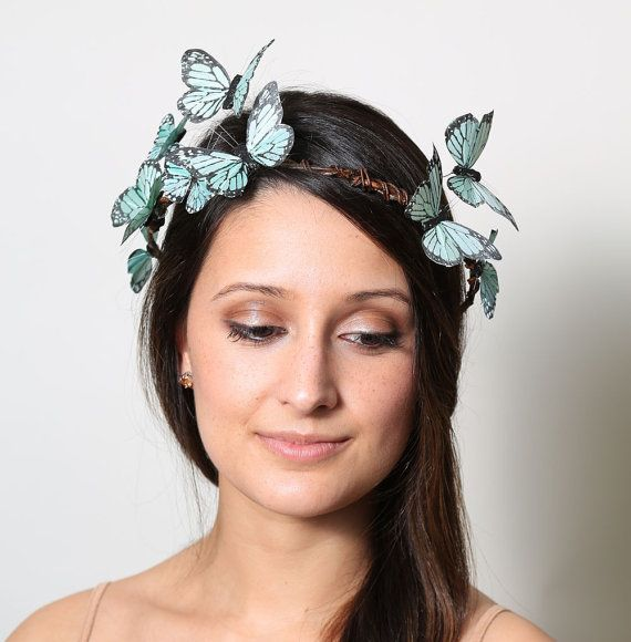 Sweet Mint Pastel Butterfly Crown - wedding, bride, fantasy, woodland,green on Etsy, $30.00