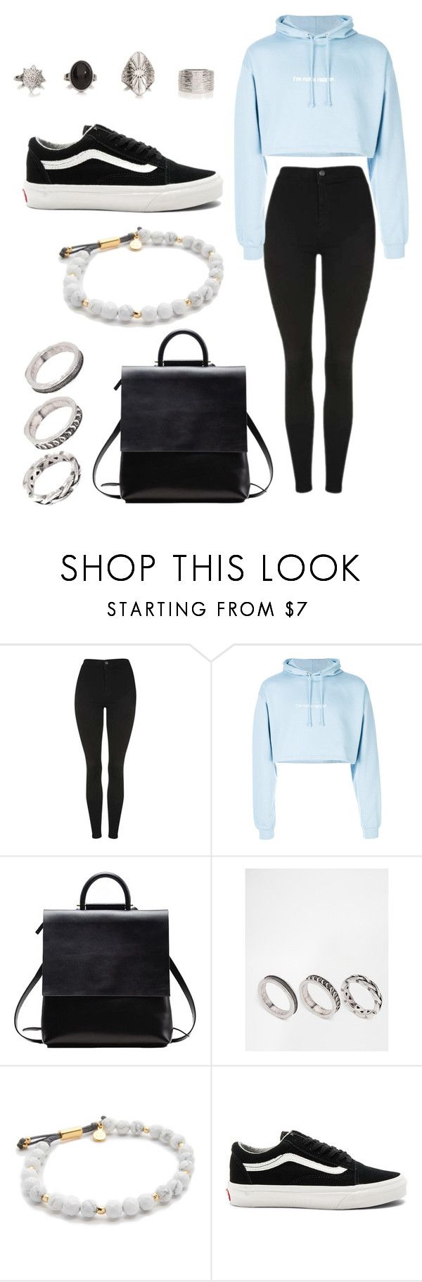 """""""Untitled #78"""" by oliviamfoster ❤ liked on Polyvore featuring Topshop, F.A.M.T., ASOS, Gorjana and Vans"""