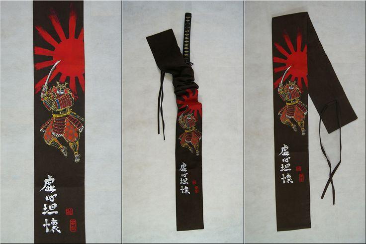 Hand painted sword bag. Chockolate brown suede, samurai and bushido vitues in kanji.