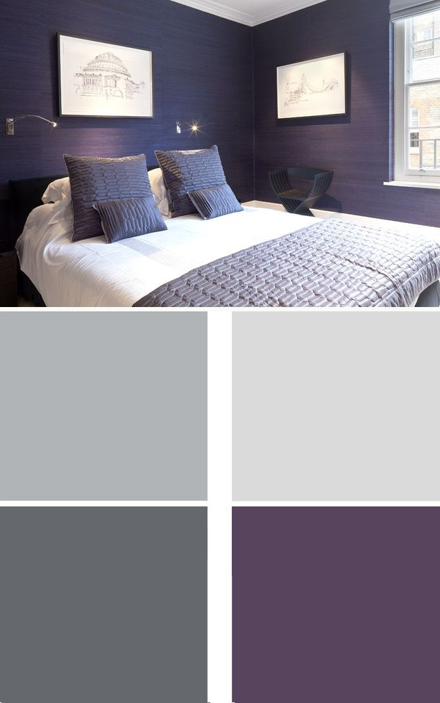 Purple is perfect in a bedroom, as it is thought to be a calming, destressing color. This cool, dark purple almost reads as black, making it work as a neutral. Keep the bedding simple and light, and you have a rich, sophisticated room.
