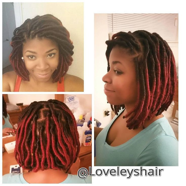 """By @loveleyshair A LoveLey Set of  Ombre Faux Locs styles into a Bob."""