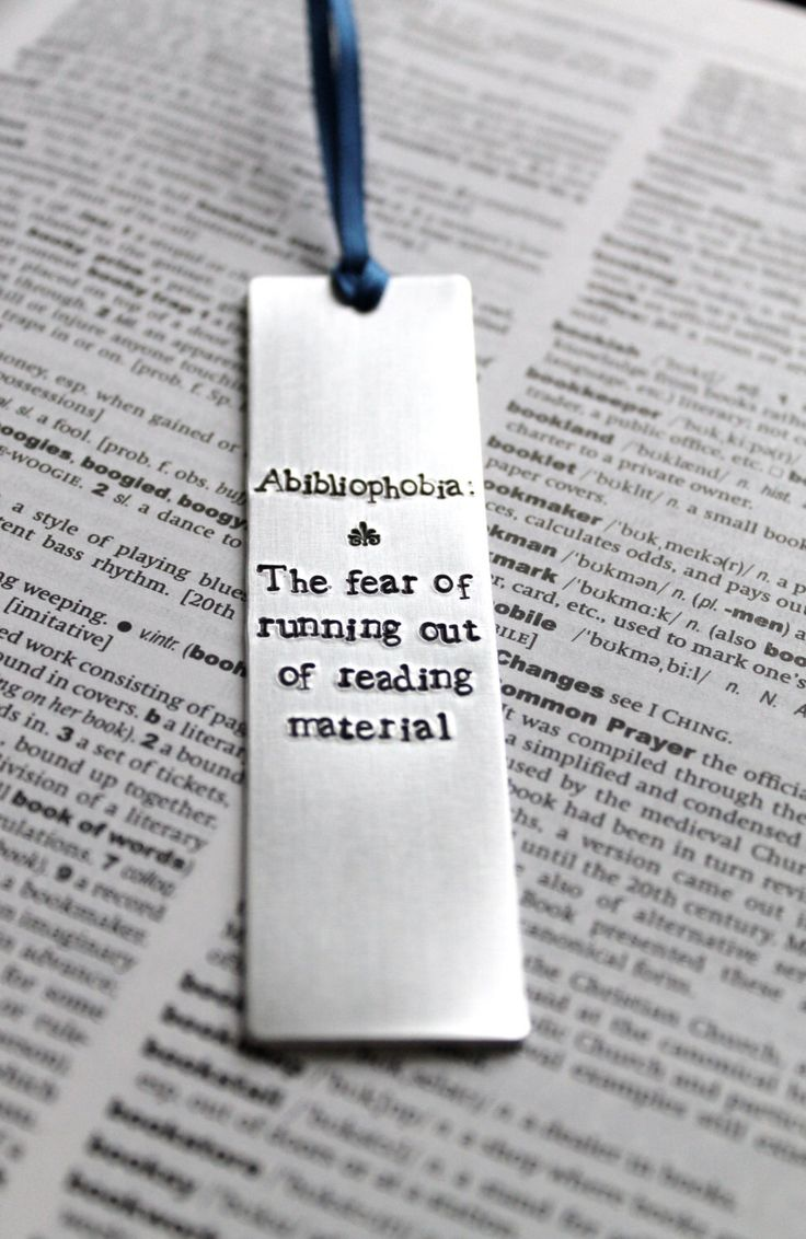 Abibliophobia : Dictionary Definition - Metal Stamped Personalised Bookmark Funny Humor by MauveMagpie on Etsy https://www.etsy.com/listing/169696511/abibliophobia-dictionary-definition