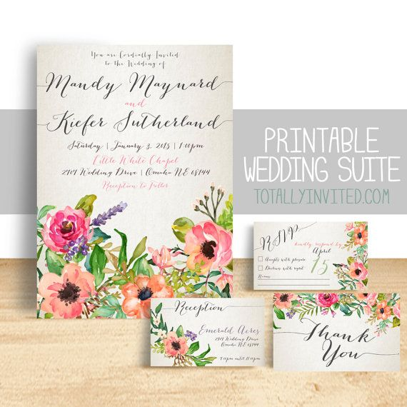 CUSTOM WEDDING INVITATION SET, PRINTABLE FILES. (Matching Bridal brunch, or Bridal Shower invites available upon request.)    Watercolor Flowers