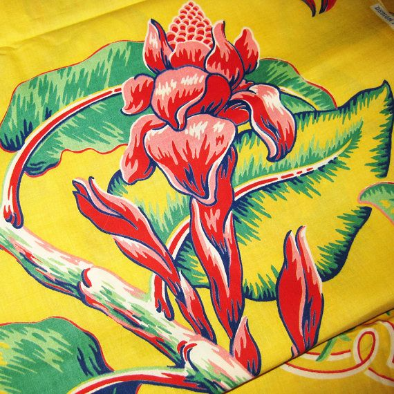 Vintage+Hawaiian+Fabric | Vintage Cotton Hawaiian Print Fabric - Large Tropical Flowers in ...
