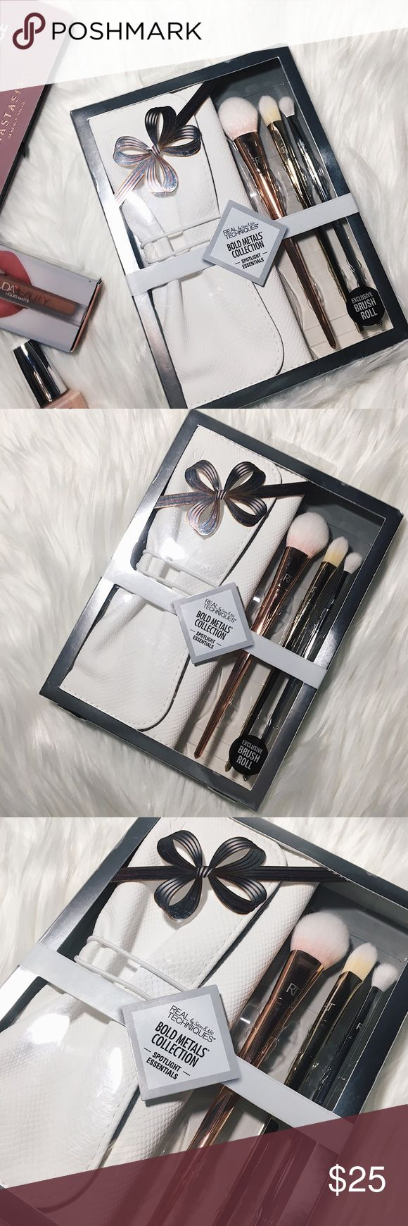 NWT Real Techniques Bold Metals Collection Set NWT Real Techniques Bold Metals Collection Spotlight Essentials make up brush set. Never opened or used. Includes the 300 TAPERED BLUSH brush, 102 TRIANGLE CONCEALER brush, 203 TAPERED SHADOW brush & an exclusive brush roll to store your brushes. Brushes are designed to work with cream, powder & liquid makeup. Box is sealed and has never been opened. Real Techniques Makeup Brushes & Tools