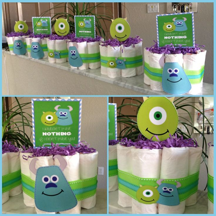 Monsters Inc. Mini Diaper Cakes $20 Each + Shipping( Depending On Quantity  Ordered). Monster Baby ShowersBoy ...