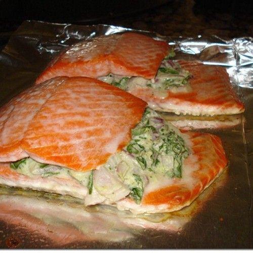 Stuffed Salmon: Spinach And Feta Stuffed Salmon
