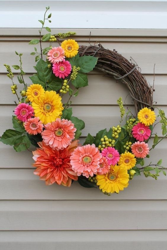 Amazing Spring Door Wreath Ideas Part - 1: 25 Cheery Spring Wreaths