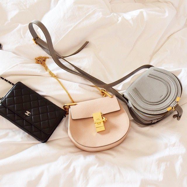 0810b72d1d118 Bag collection: Chanel WOC lambskin black, Chloe Drew mini pink .