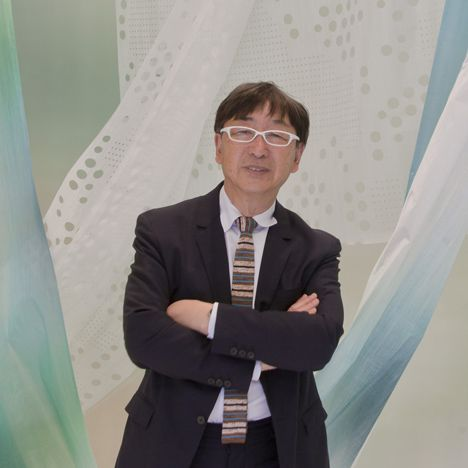 """Japanese architect Toyo Ito spoke to Dezeen about his design for textile brand Kinnasand's first Milan showroom and his decision to """"wrap the whole environment"""" in fabric"""