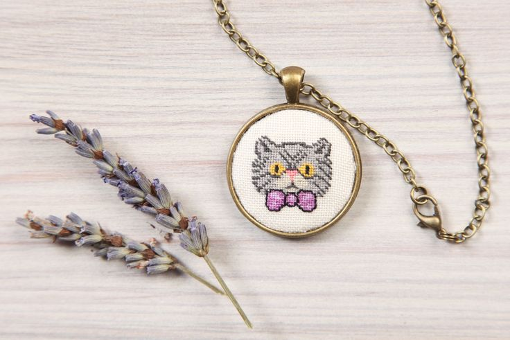 Gray Persian Cat pendant/Cross stitch necklace by YetiPepper on Etsy