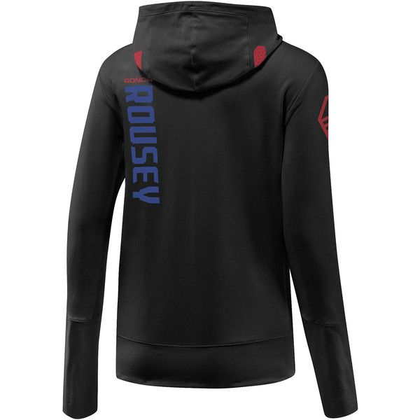 Reebok UFC Ronda Rousey Walkout Hoodie ($115) ❤ liked on Polyvore featuring activewear, activewear tops, apparel, reebok activewear, reebok and reebok sportswear