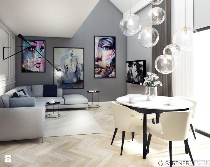 MIESZKANIE Z ANTRESOLĄ - Średni salon z jadalnią, styl art deco - zdjęcie od Partner Design
