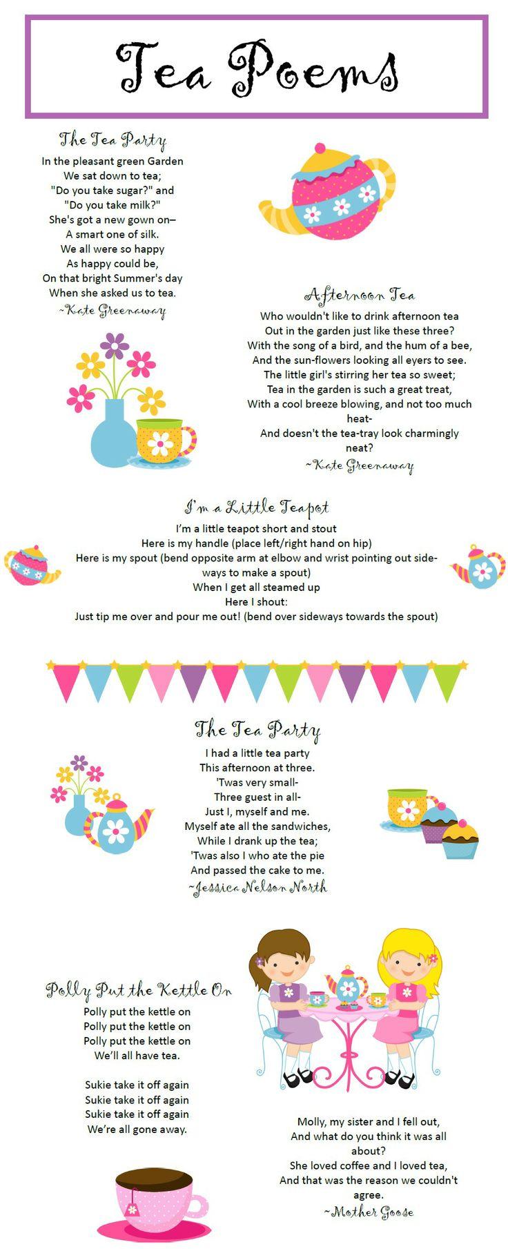 Free Tea Party Poems Printable Downloadable PDF file