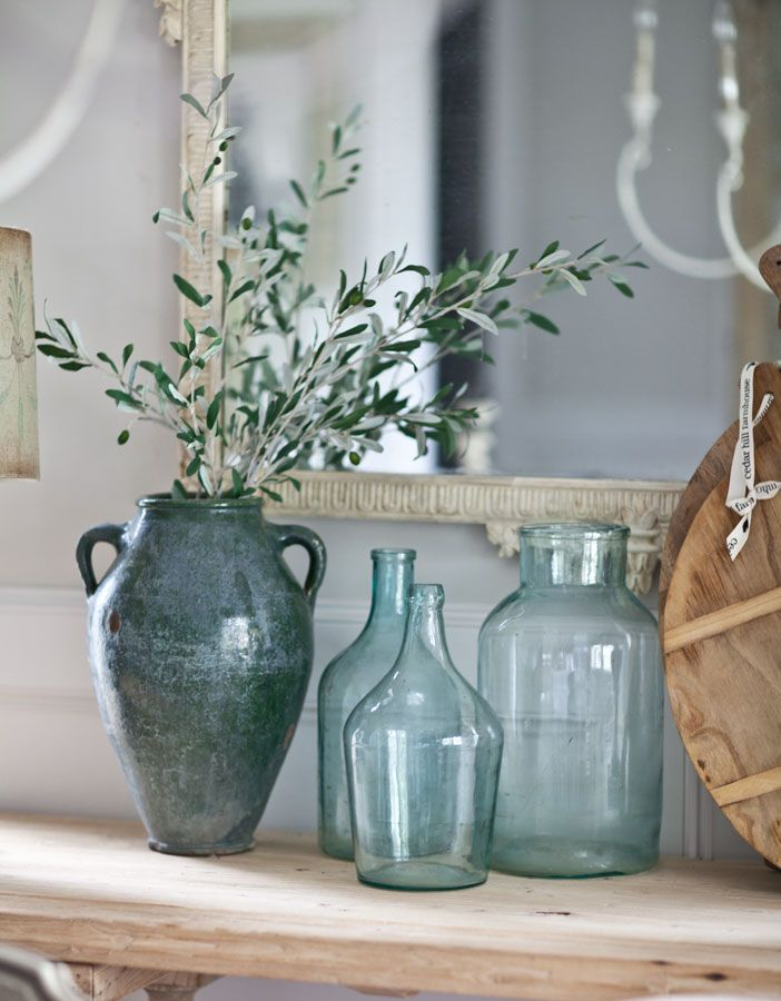 Using antique jars for decorating | Farmhouse French Friday Tip | Cedar Hill Farmhouse.