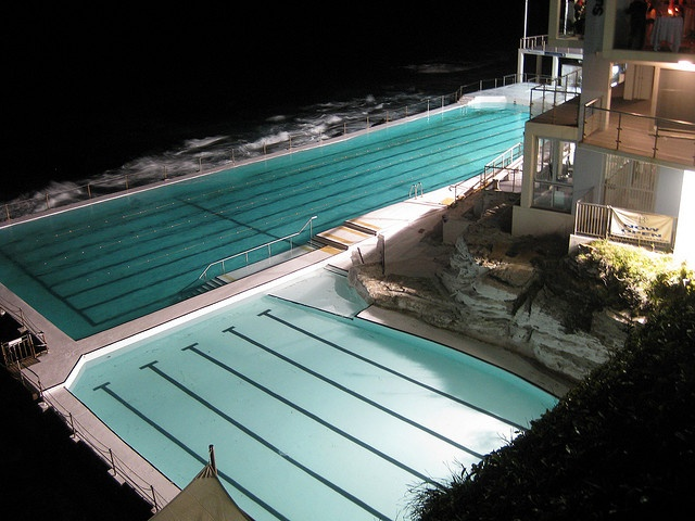 Bondi Beach Icebergs - at night    We walked over to Bondi Beach after dinner last night.  This is the salt water swimming pool at the South end of Bondi Beach.  The Icebergs club/restaurant is a popular location for Sydney weddings & events.
