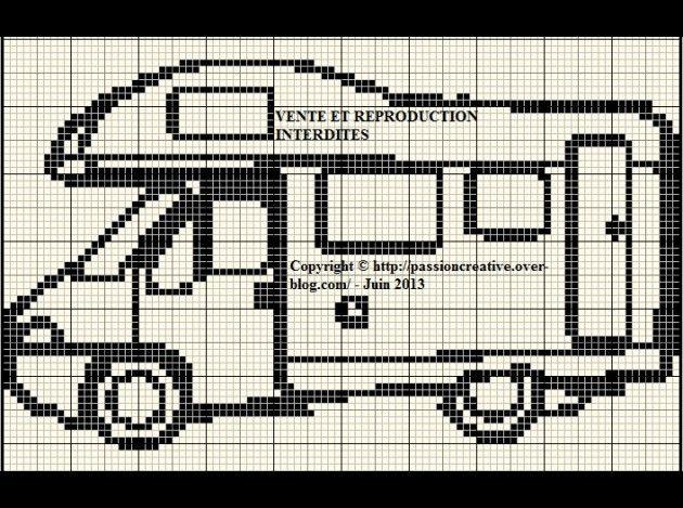 véhicule - camping car - point de croix - cross stitch - Blog : http://broderiemimie44.canalblog.com/