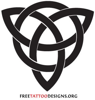 The Celtic trinity knot is a very simple, but powerful symbol and very suitable for a tattoo. It is a triangle knot, the 3 corners have various meanings:    •Christian: Father, Son and Holy Spirit  •Pagan: Mother, Crone and Maiden  •New age: Mind, body and spirit