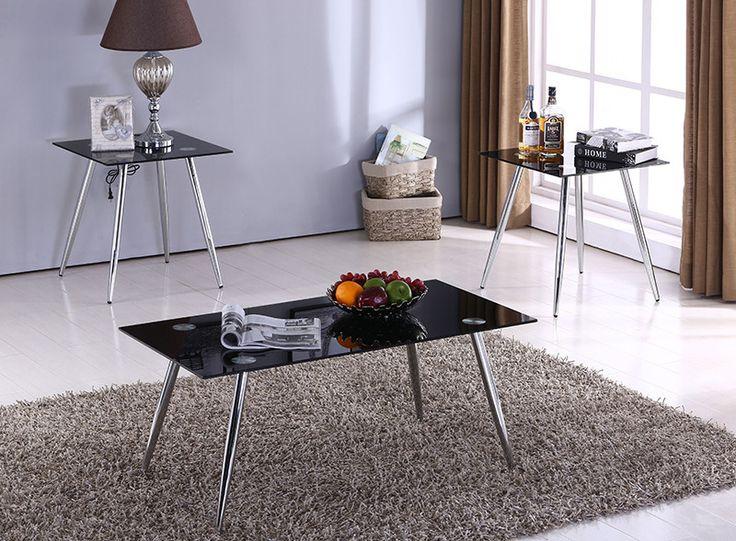 3 Piece Chrome U0026 Black Glass Top Transitional Occasional Cocktail Coffee U0026  2 End Table Set (Metal Legs)