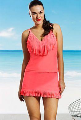 Jessica Simpson Plus Size Coral Fringe Tankini