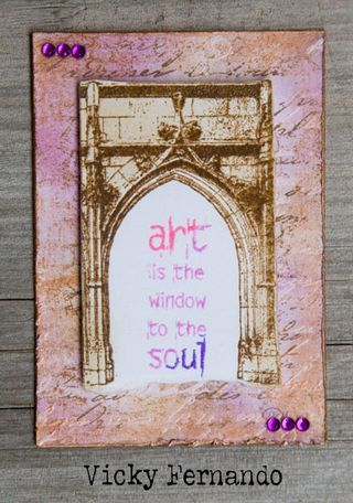 ATC by Vicky Fernando using Darkroom Door Gothic Arches Rubber Stamps.