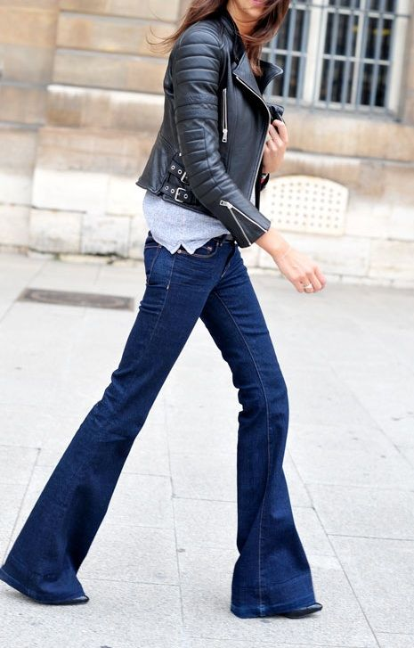 Bell Bottom Fashion. Flared jeans and leather jacket