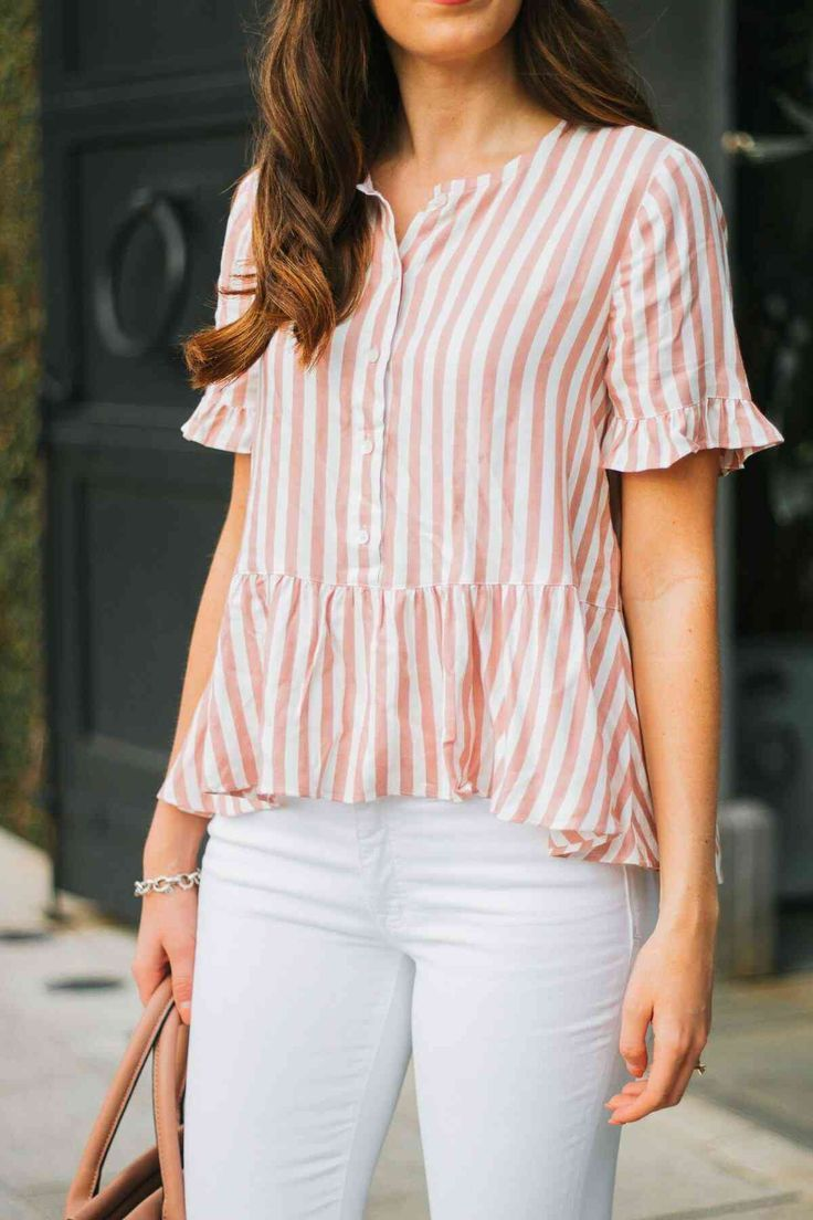 cdef9c9988424 Pink striped button down top with white jeans for spring