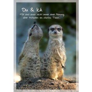 Poetische Postkarte: Du und Ich. Wir sind zwar nicht immer einer Meinung, aber trotzdem ein starkes Team bei Grusskartenladen.de