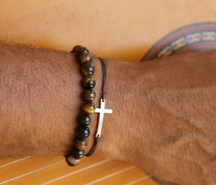 2 bracelet homme OEIL DE TIGRE 8mm et croix cordon assortis : Bijoux pour hommes par made-with-love-in-aiacciu