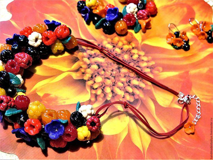 Купить Комплект украшений Ягодный - комбинированный, коплект, украшения, украшение на шею, украшения ручной работы