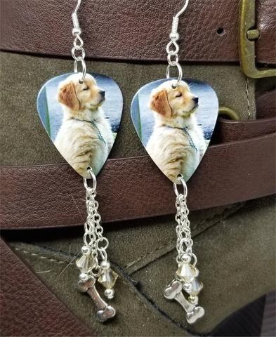 23aba34b0 Golden Retriever Puppy Guitar Pick Earrings with Bone Charm and Silk Swarovski  Crystal Dangles