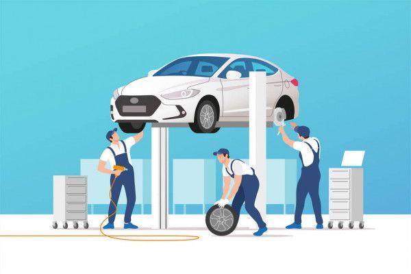 auto layanan dan perbaikan mobil di bengkel pemeliharaan dengan tim mekanik ilustrasi vektor in 2021 car repair service stempel flamme
