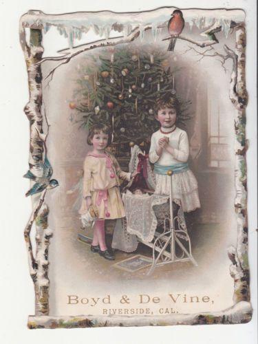 Boyd-De-Vine-Riverside-CA-Girls-Christmas-Tree-Baby-Doll-Robin-Vict-Card-c-1880s
