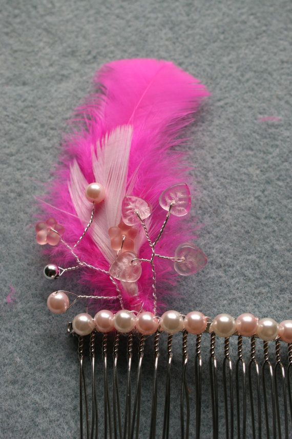 Pink Feather and Beaded Hair Comb for Bride or Bridesmaid
