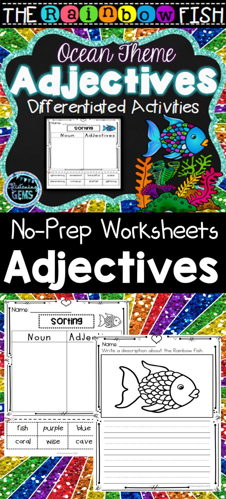 The Rainbow Fish Adjective Worksheets Printables Color And Black Lined Therainbowfish Adjec Rainbow Fish Adjectives Printables Rainbow Fish Activities [ 1619 x 736 Pixel ]