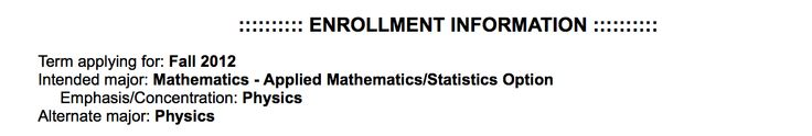That's my application information. I graduated in June of 2014. I've been working as a programmer for coming on 7 months. The most complicated math I do these days is addition. Hopefully I make it into graduate school and can do mechanical engineering.